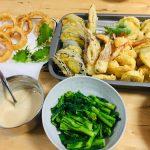 天ぷら&オニオンリング&菜の花おひたし♪